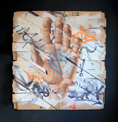 'Bullseye' - 180x180cm - Spray-paint on Cardboard with Darts (interactive dartboard painting)