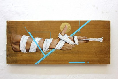 Stick Up - Oil and Acrylic on found wood - Private Colletion